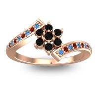 Simple Floral Pave Utpala Black Onyx Ring with Swiss Blue Topaz and Garnet in 14K Rose Gold
