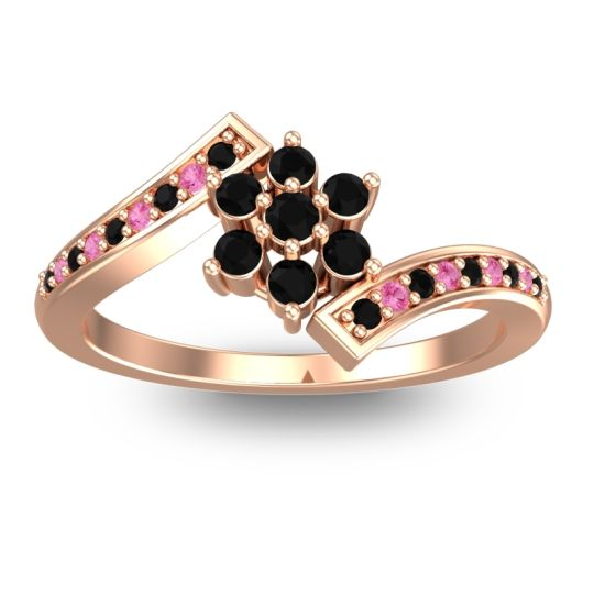Simple Floral Pave Utpala Black Onyx Ring with Pink Tourmaline in 14K Rose Gold