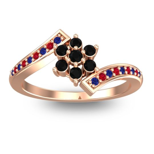 Simple Floral Pave Utpala Black Onyx Ring with Blue Sapphire and Ruby in 14K Rose Gold