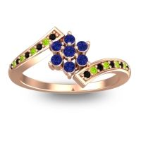 Simple Floral Pave Utpala Blue Sapphire Ring with Black Onyx and Peridot in 18K Rose Gold