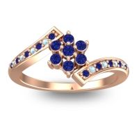 Simple Floral Pave Utpala Blue Sapphire Ring with Aquamarine in 18K Rose Gold