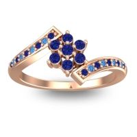 Simple Floral Pave Utpala Blue Sapphire Ring with Swiss Blue Topaz in 14K Rose Gold