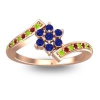Simple Floral Pave Utpala Blue Sapphire Ring with Peridot and Garnet in 14K Rose Gold
