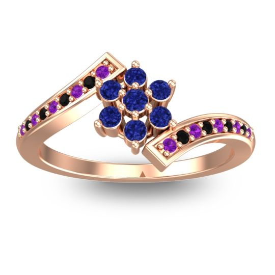 Simple Floral Pave Utpala Blue Sapphire Ring with Amethyst and Black Onyx in 18K Rose Gold