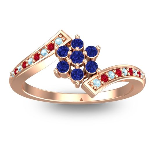 Simple Floral Pave Utpala Blue Sapphire Ring with Aquamarine and Ruby in 18K Rose Gold