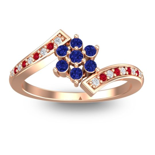 Simple Floral Pave Utpala Blue Sapphire Ring with Diamond and Ruby in 14K Rose Gold