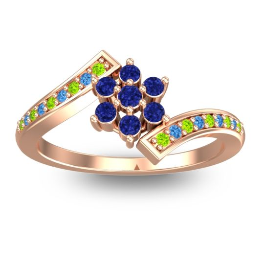 Simple Floral Pave Utpala Blue Sapphire Ring with Peridot and Swiss Blue Topaz in 14K Rose Gold