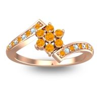 Simple Floral Pave Utpala Citrine Ring with Aquamarine in 18K Rose Gold
