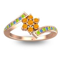 Simple Floral Pave Utpala Citrine Ring with Peridot and Swiss Blue Topaz in 14K Rose Gold