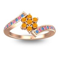 Simple Floral Pave Utpala Citrine Ring with Swiss Blue Topaz and Pink Tourmaline in 18K Rose Gold