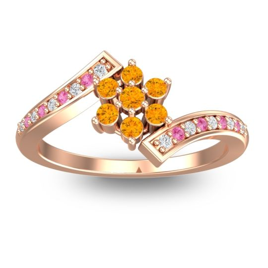 Simple Floral Pave Utpala Citrine Ring with Diamond and Pink Tourmaline in 18K Rose Gold