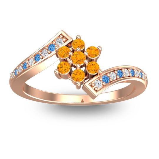 Simple Floral Pave Utpala Citrine Ring with Diamond and Swiss Blue Topaz in 18K Rose Gold