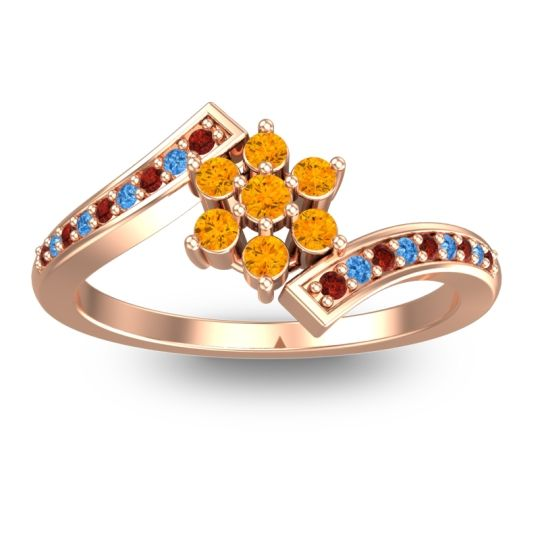 Simple Floral Pave Utpala Citrine Ring with Garnet and Swiss Blue Topaz in 14K Rose Gold