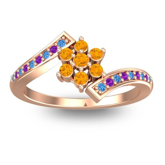 Simple Floral Pave Utpala Citrine Ring with Swiss Blue Topaz and Amethyst in 18K Rose Gold