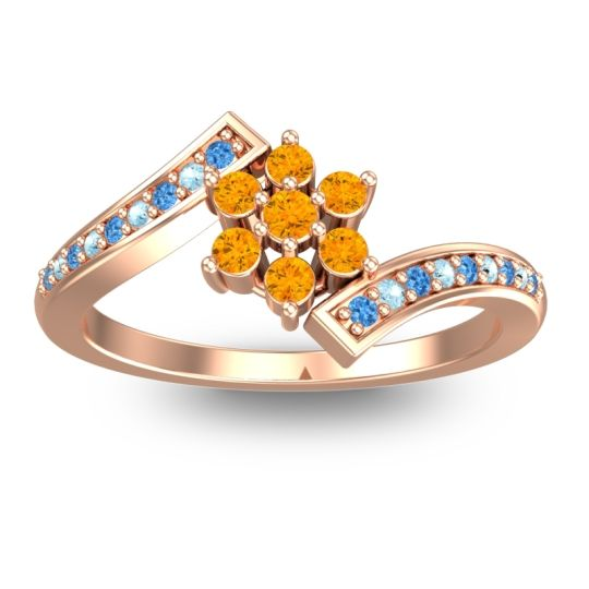 Simple Floral Pave Utpala Citrine Ring with Swiss Blue Topaz and Aquamarine in 18K Rose Gold