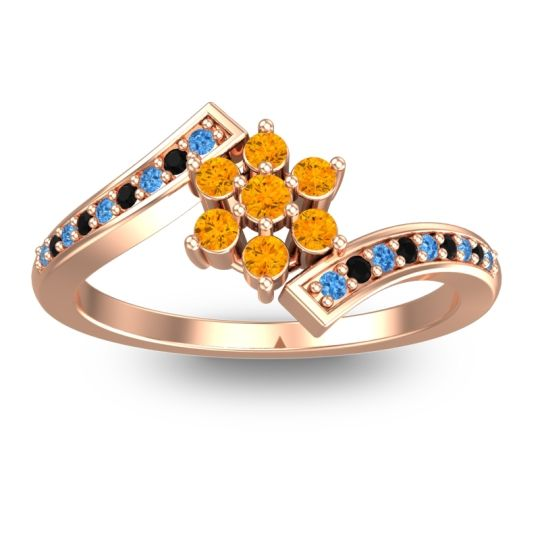 Citrine Simple Floral Pave Utpala Ring with Swiss Blue Topaz and Black Onyx in 14K Rose Gold