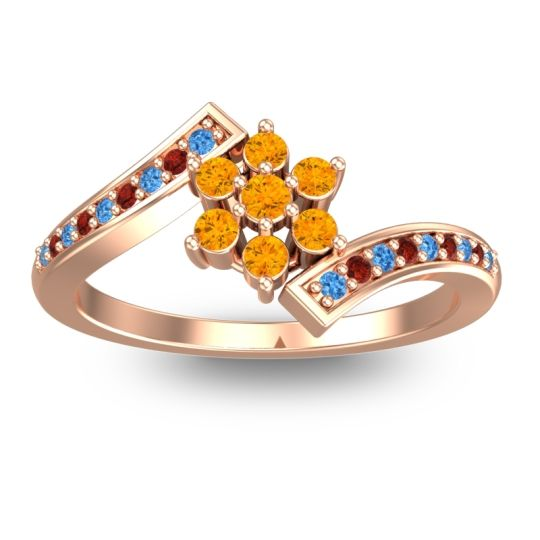 Citrine Simple Floral Pave Utpala Ring with Swiss Blue Topaz and Garnet in 14K Rose Gold