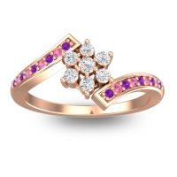 Simple Floral Pave Utpala Diamond Ring with Amethyst and Pink Tourmaline in 18K Rose Gold