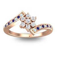 Simple Floral Pave Utpala Diamond Ring with Aquamarine and Blue Sapphire in 14K Rose Gold
