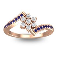 Simple Floral Pave Utpala Diamond Ring with Blue Sapphire in 14K Rose Gold