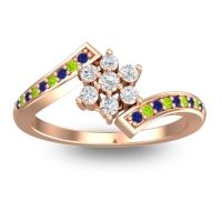 Simple Floral Pave Utpala Diamond Ring with Blue Sapphire and Peridot in 18K Rose Gold