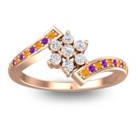 Simple Floral Pave Utpala Diamond Ring with Citrine and Amethyst in 14K Rose Gold