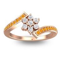 Simple Floral Pave Utpala Diamond Ring with Citrine in 18K Rose Gold