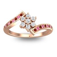 Simple Floral Pave Utpala Diamond Ring with Garnet and Pink Tourmaline in 14K Rose Gold