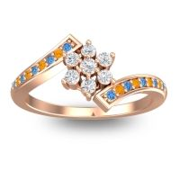 Simple Floral Pave Utpala Diamond Ring with Swiss Blue Topaz and Citrine in 18K Rose Gold