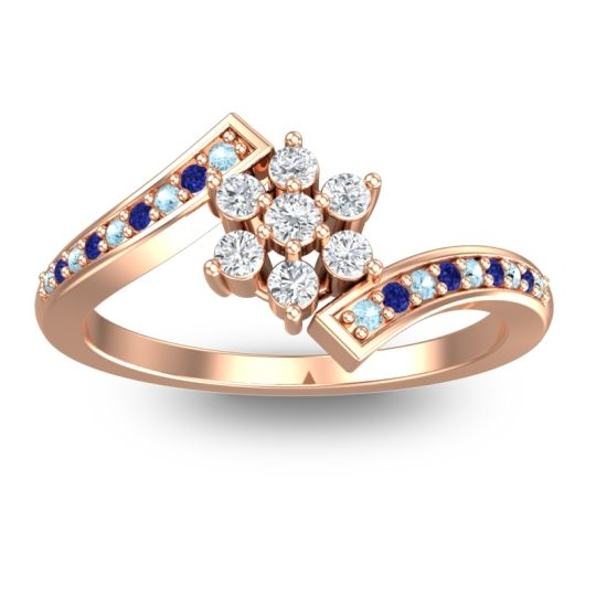 Diamond Simple Floral Pave Utpala Ring with Aquamarine and Blue Sapphire in 14K Rose Gold