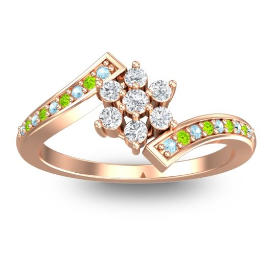 Diamond Simple Floral Pave Utpala Ring with Aquamarine and Peridot in 14K Rose Gold