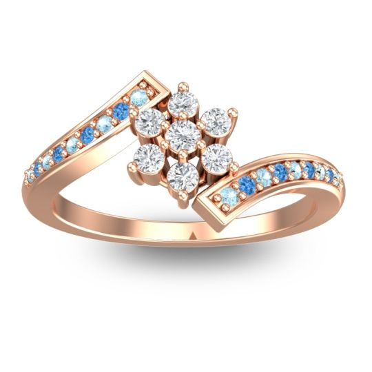 Diamond Simple Floral Pave Utpala Ring with Aquamarine and Swiss Blue Topaz in 14K Rose Gold