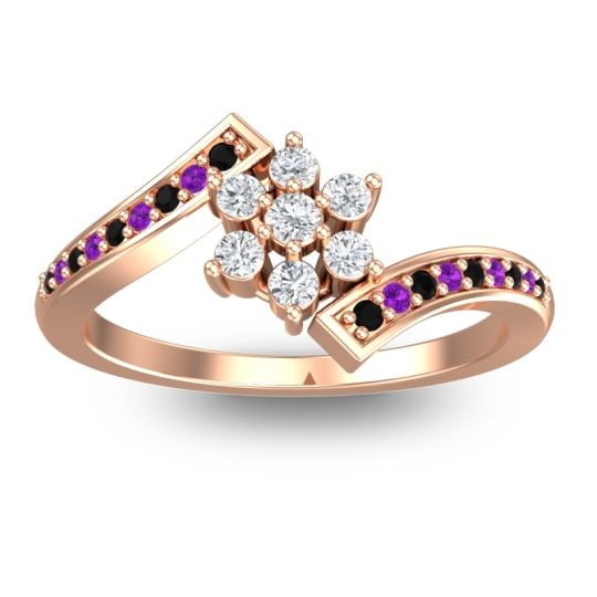 Diamond Simple Floral Pave Utpala Ring with Black Onyx and Amethyst in 18K Rose Gold