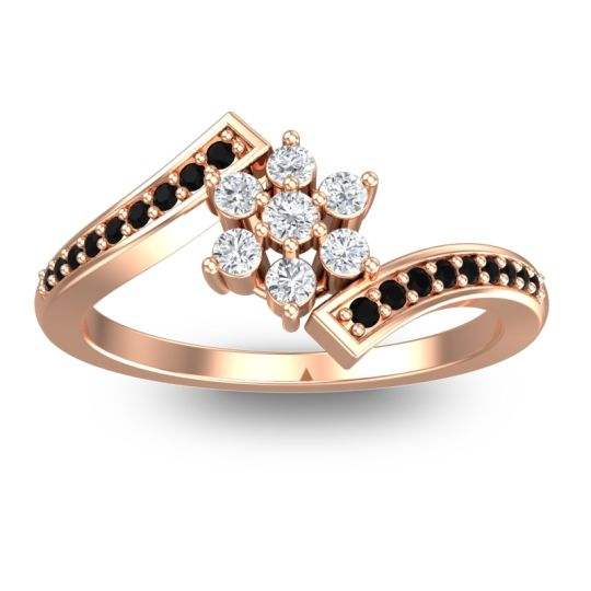Diamond Simple Floral Pave Utpala Ring with Black Onyx in 14K Rose Gold