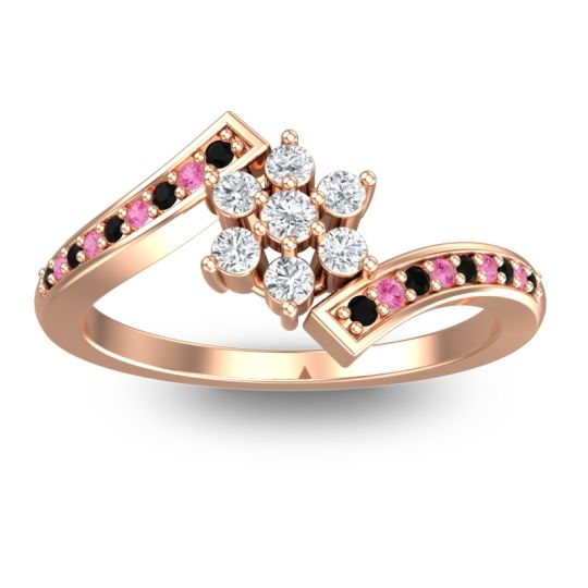 Diamond Simple Floral Pave Utpala Ring with Black Onyx and Pink Tourmaline in 14K Rose Gold