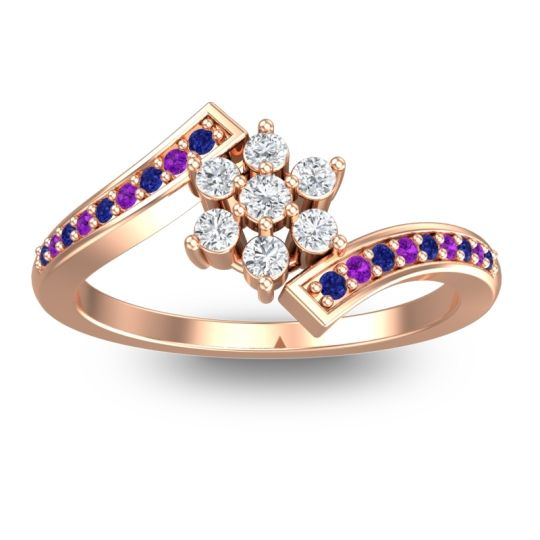 Diamond Simple Floral Pave Utpala Ring with Blue Sapphire and Amethyst in 14K Rose Gold