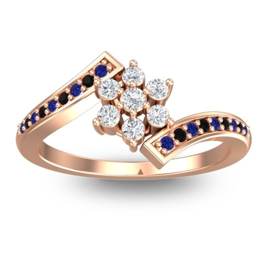 Diamond Simple Floral Pave Utpala Ring with Blue Sapphire and Black Onyx in 14K Rose Gold