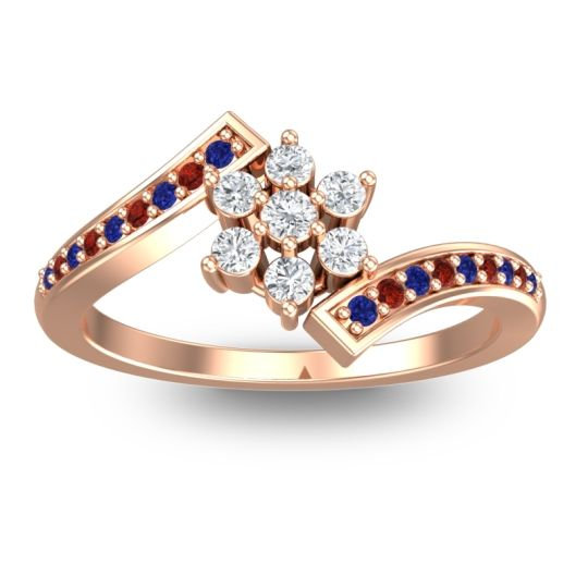 Simple Floral Pave Utpala Diamond Ring with Blue Sapphire and Garnet in 18K Rose Gold