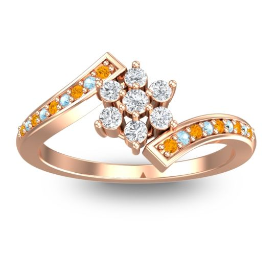 Diamond Simple Floral Pave Utpala Ring with Citrine and Aquamarine in 14K Rose Gold