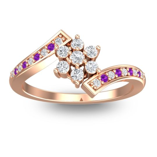 Diamond Simple Floral Pave Utpala Ring with Amethyst in 18K Rose Gold