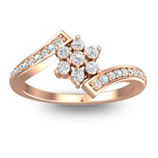 Diamond Simple Floral Pave Utpala Ring with Aquamarine in 18K Rose Gold