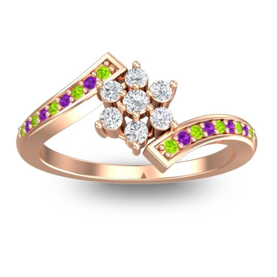 Simple Floral Pave Utpala Diamond Ring with Peridot and Amethyst in 14K Rose Gold