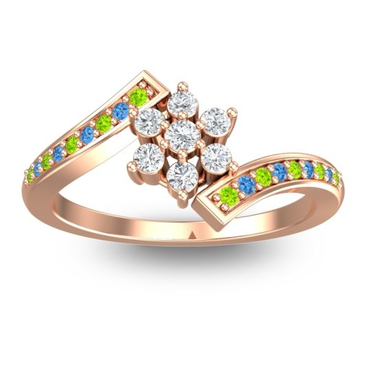 Simple Floral Pave Utpala Diamond Ring with Peridot and Swiss Blue Topaz in 18K Rose Gold