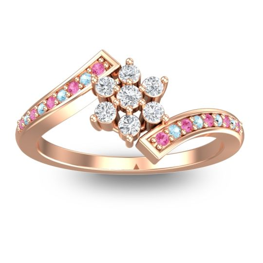 Simple Floral Pave Utpala Diamond Ring with Pink Tourmaline and Aquamarine in 14K Rose Gold