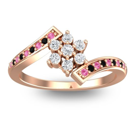 Simple Floral Pave Utpala Diamond Ring with Pink Tourmaline and Black Onyx in 18K Rose Gold