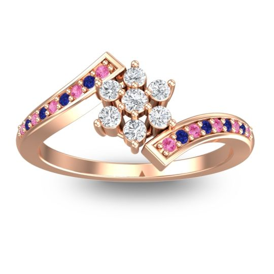 Diamond Simple Floral Pave Utpala Ring with Pink Tourmaline and Blue Sapphire in 14K Rose Gold
