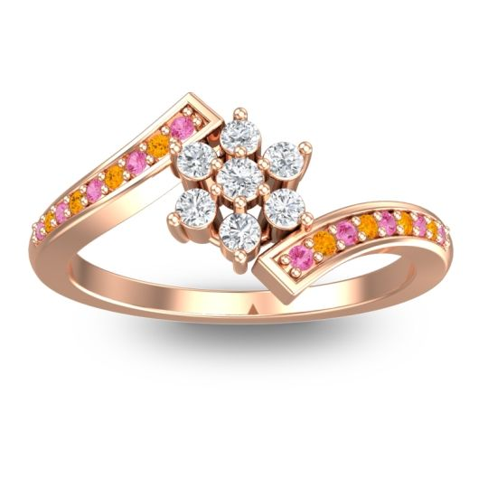 Diamond Simple Floral Pave Utpala Ring with Pink Tourmaline and Citrine in 18K Rose Gold