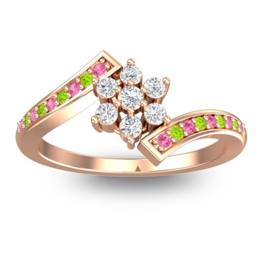 Diamond Simple Floral Pave Utpala Ring with Pink Tourmaline and Peridot in 18K Rose Gold