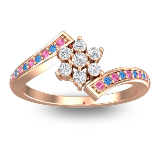 Diamond Simple Floral Pave Utpala Ring with Pink Tourmaline and Swiss Blue Topaz in 18K Rose Gold