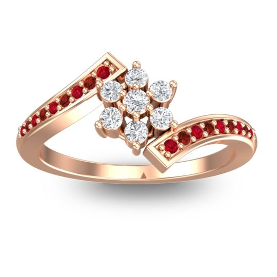 Simple Floral Pave Utpala Diamond Ring with Ruby and Garnet in 18K Rose Gold